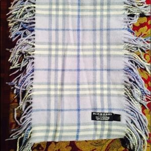 Burberry London light blue nova check fringe scarf